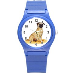 Pug Color Drawing Round Plastic Sport Watch (S)