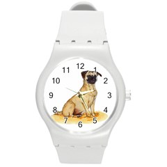 Pug Color Drawing Round Plastic Sport Watch (M)