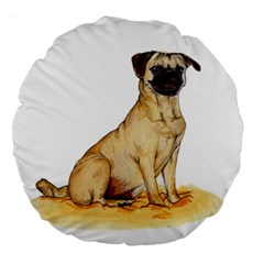 Pug Color Drawing Large 18  Premium Round Cushions