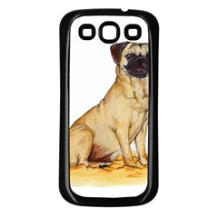 Pug Color Drawing Samsung Galaxy S3 Back Case (Black)