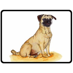 Pug Color Drawing Double Sided Fleece Blanket (Large)