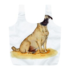 Pug Color Drawing Full Print Recycle Bags (l)