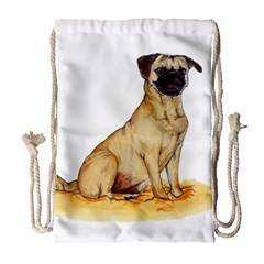 Pug Color Drawing Drawstring Bag (Large)