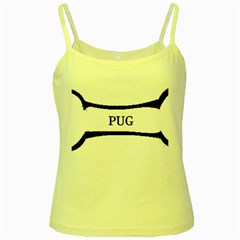 Pug Dog Bone Yellow Spaghetti Tank