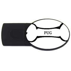Pug Dog Bone USB Flash Drive Oval (1 GB)