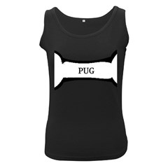 Pug Dog Bone Women s Black Tank Top