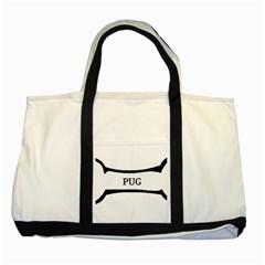 Pug Dog Bone Two Tone Tote Bag