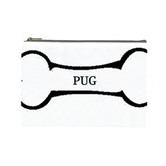 Pug Dog Bone Cosmetic Bag (Large)