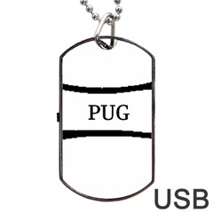Pug Dog Bone Dog Tag USB Flash (Two Sides)