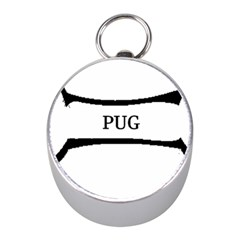 Pug Dog Bone Mini Silver Compasses