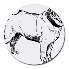 Pug Drawing Round Mousepads