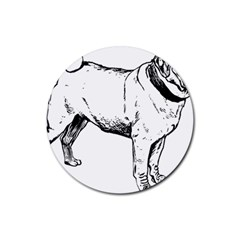 Pug Drawing Rubber Round Coaster (4 pack)