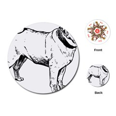 Pug Drawing Playing Cards (Round)