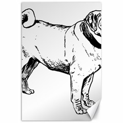 Pug Drawing Canvas 24  x 36