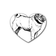 Pug Drawing Heart Coaster (4 pack)