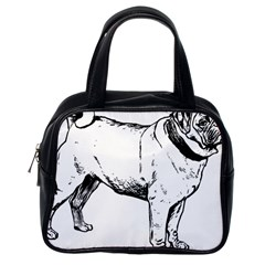 Pug Drawing Classic Handbags (One Side)