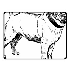 Pug Drawing Fleece Blanket (Small)