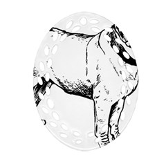Pug Drawing Oval Filigree Ornament (Two Sides)
