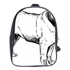 Pug Drawing School Bags (XL)