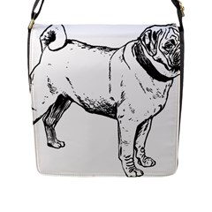 Pug Drawing Flap Messenger Bag (L)