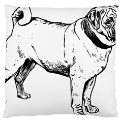 Pug Drawing Large Flano Cushion Case (One Side)