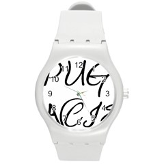 Pug Fancier Round Plastic Sport Watch (M)