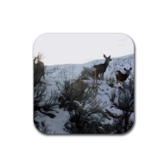 White Tail Deer 1 Rubber Square Coaster (4 pack)