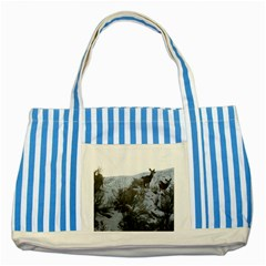 White Tail Deer 1 Striped Blue Tote Bag