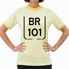 Brazil BR-101 Transcoastal Highway  Women s Fitted Ringer T-Shirts
