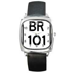 Brazil BR-101 Transcoastal Highway  Square Metal Watch