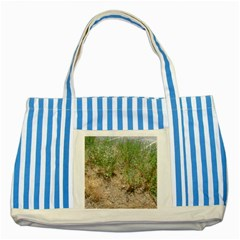 Wildflowers Striped Blue Tote Bag