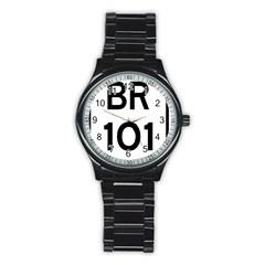 Brazil BR-101 Transcoastal Highway  Stainless Steel Round Watch
