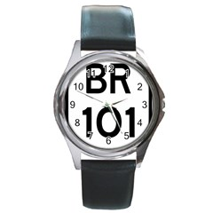 Brazil BR-101 Transcoastal Highway  Round Metal Watch