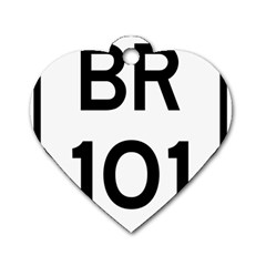 Brazil BR-101 Transcoastal Highway  Dog Tag Heart (Two Sides)