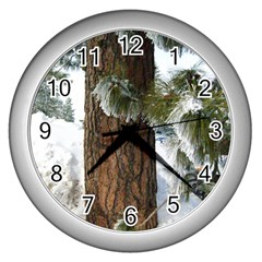 Winter Tree At Bogus Basin Wall Clocks (Silver)