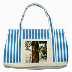 Winter Tree At Bogus Basin Striped Blue Tote Bag