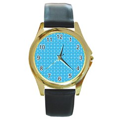 simple rectangular pattern Round Gold Metal Watch