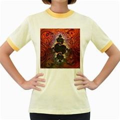 The Eye Of Julia, A Rainbow Fractal Paint Swirl Women s Fitted Ringer T-Shirts
