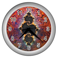 The Eye Of Julia, A Rainbow Fractal Paint Swirl Wall Clocks (Silver)