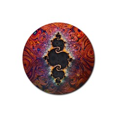 The Eye Of Julia, A Rainbow Fractal Paint Swirl Rubber Round Coaster (4 pack)