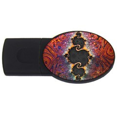 The Eye Of Julia, A Rainbow Fractal Paint Swirl USB Flash Drive Oval (1 GB)