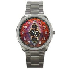 The Eye Of Julia, A Rainbow Fractal Paint Swirl Sport Metal Watch