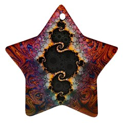 The Eye Of Julia, A Rainbow Fractal Paint Swirl Star Ornament (Two Sides)