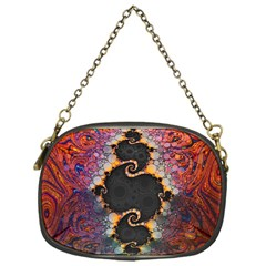 The Eye Of Julia, A Rainbow Fractal Paint Swirl Chain Purses (One Side)