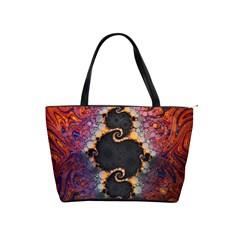 The Eye Of Julia, A Rainbow Fractal Paint Swirl Shoulder Handbags