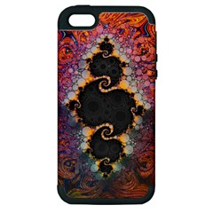 The Eye Of Julia, A Rainbow Fractal Paint Swirl Apple iPhone 5 Hardshell Case (PC+Silicone)