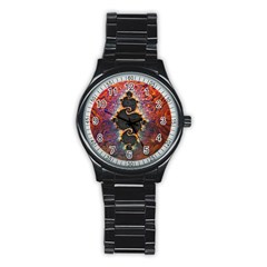 The Eye Of Julia, A Rainbow Fractal Paint Swirl Stainless Steel Round Watch