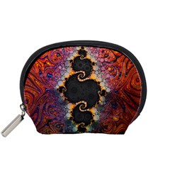 The Eye Of Julia, A Rainbow Fractal Paint Swirl Accessory Pouches (Small)