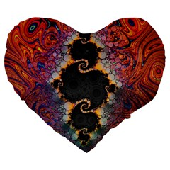 The Eye Of Julia, A Rainbow Fractal Paint Swirl Large 19  Premium Flano Heart Shape Cushions