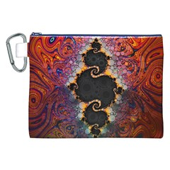 The Eye Of Julia, A Rainbow Fractal Paint Swirl Canvas Cosmetic Bag (XXL)